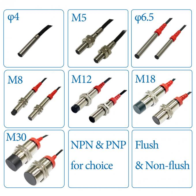 12V Flush 3 wires M8 NPN Proximity Sensor 2mm Sensing Long distance Type