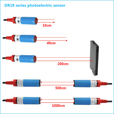 China NPN NO M18 Cylindrical Photoelectric Beam Detector Through Beam Optical Switches supplier
